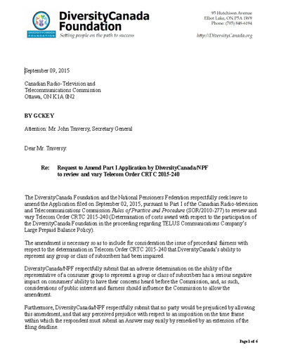 Cover Letter to the CRTC re. Telecom Order – National Pensioners ...